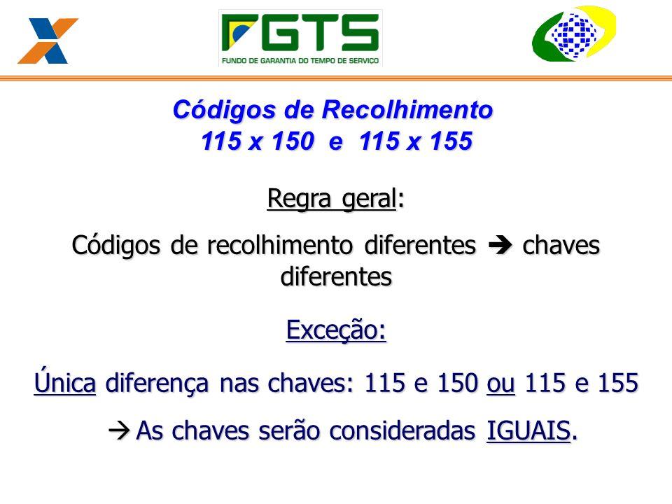 Regra geral: Códigos de recolhimento diferentes chaves diferentes Exceção: Única diferença nas chaves: 115 e 150 ou 115 e 155 à As chaves serão consideradas IGUAIS.