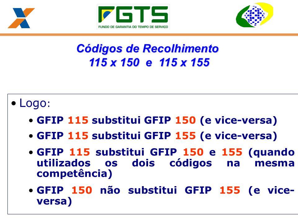 Logo : GFIP 115 substitui GFIP 150 (e vice-versa) GFIP 115 substitui GFIP 155 (e vice-versa) GFIP 115 substitui GFIP 150 e 155 (quando utilizados os dois códigos na mesma competência) GFIP 150 não substitui GFIP 155 (e vice- versa) Códigos de Recolhimento 115 x 150 e 115 x 155