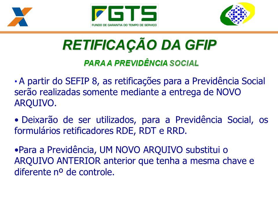 PARA A PREVIDÊNCIA SOCIAL A partir do SEFIP 8, as retificações para a Previdência Social serão realizadas somente mediante a entrega de NOVO ARQUIVO.