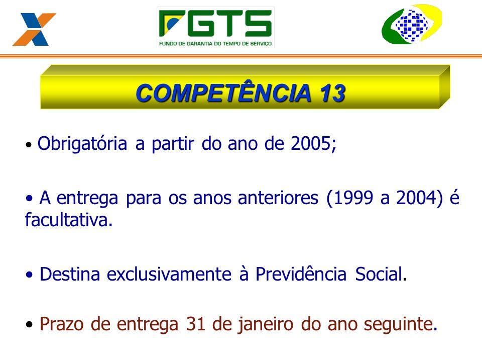 Obrigatória a partir do ano de 2005; A entrega para os anos anteriores (1999 a 2004) é facultativa.
