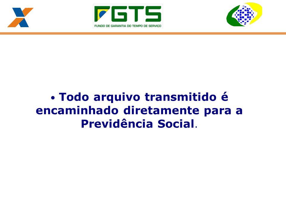 Todo arquivo transmitido é encaminhado diretamente para a Previdência Social.