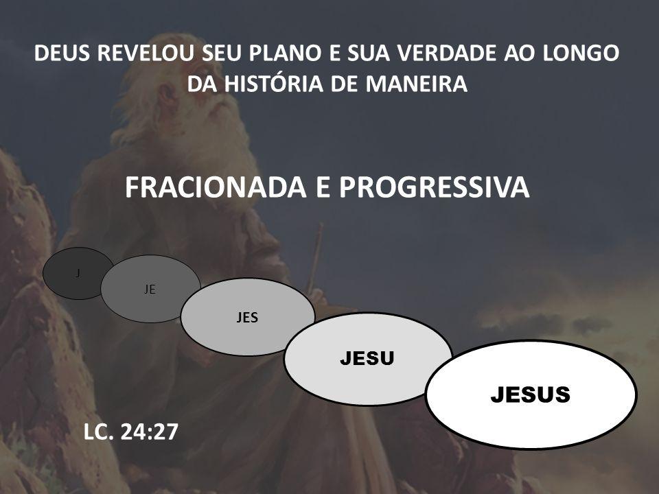 DEUS REVELOU SEU PLANO E SUA VERDADE AO LONGO DA HISTÓRIA DE MANEIRA FRACIONADA E PROGRESSIVA LC. 24:27 J JE JES JESU JESUS