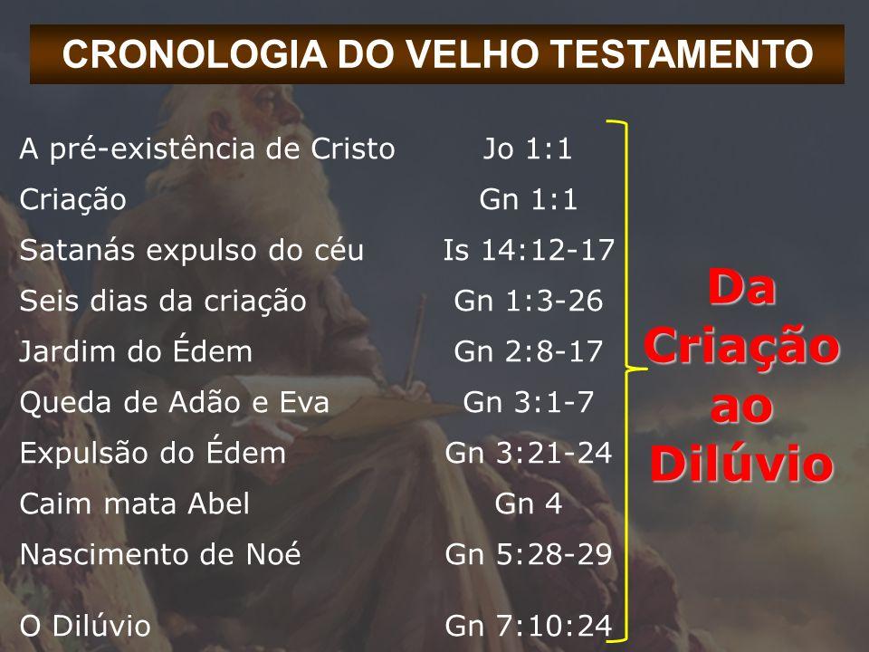 CRONOLOGIA DO VELHO TESTAMENTO Da Criação ao Dilúvio A pré-existência de CristoJo 1:1 CriaçãoGn 1:1 Satanás expulso do céuIs 14:12-17 Seis dias da cri