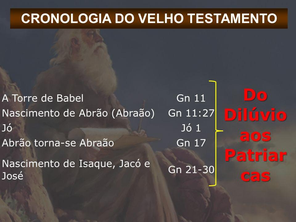 CRONOLOGIA DO VELHO TESTAMENTO Do Dilúvio aos Patriar cas A Torre de BabelGn 11 Nascimento de Abrão (Abraão)Gn 11:27 JóJó 1 Abrão torna-se AbraãoGn 17