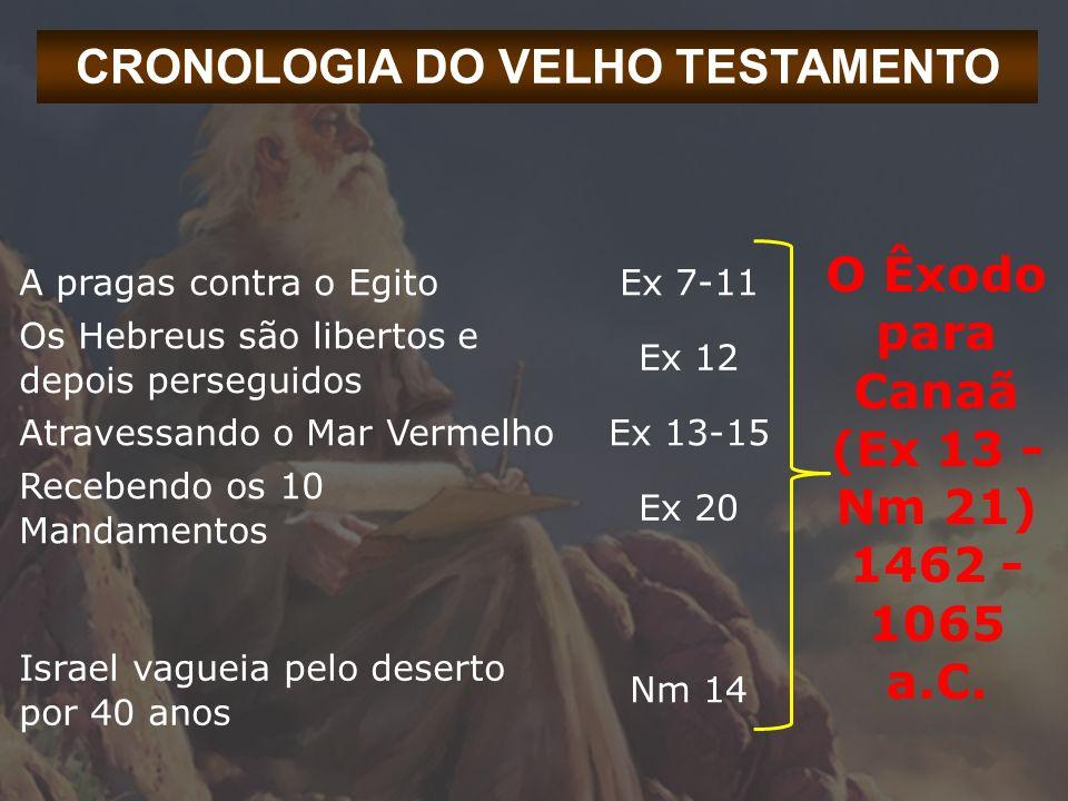 CRONOLOGIA DO VELHO TESTAMENTO A pragas contra o EgitoEx 7-11 O Êxodo para Canaã (Ex 13 - Nm 21) 1462 - 1065 a.C. Os Hebreus são libertos e depois per