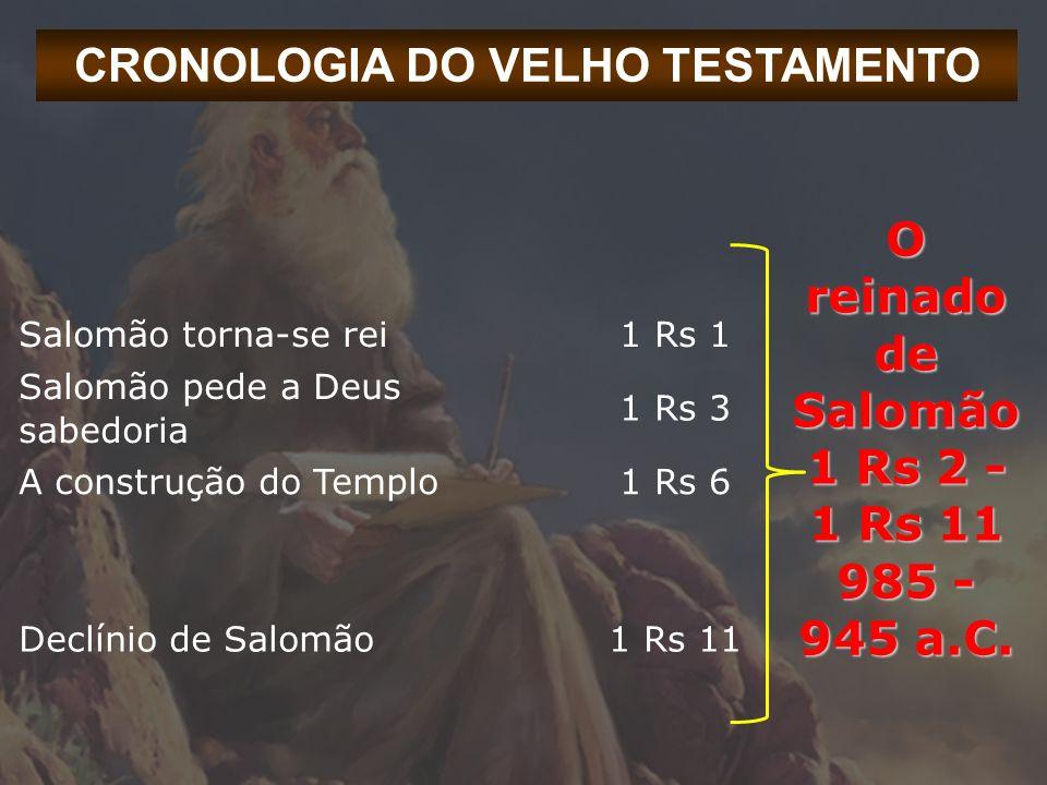 CRONOLOGIA DO VELHO TESTAMENTO O reinado de Salomão 1 Rs 2 - 1 Rs 11 985 - 945 a.C. Salomão torna-se rei1 Rs 1 Salomão pede a Deus sabedoria 1 Rs 3 A