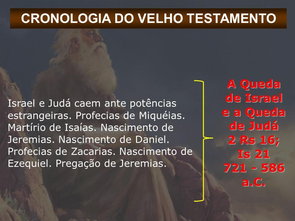 CRONOLOGIA DO VELHO TESTAMENTO Israel e Judá caem ante potências estrangeiras. Profecias de Miquéias. Martírio de Isaías. Nascimento de Jeremias. Nasc