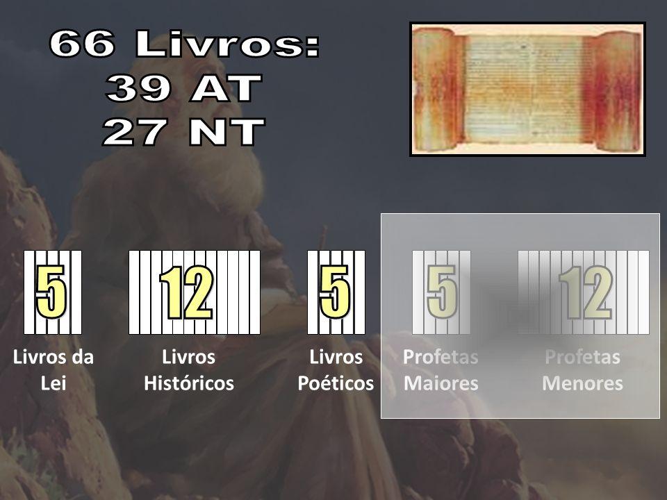Livros da Lei Livros Históricos Livros Poéticos Profetas Maiores Profetas Menores