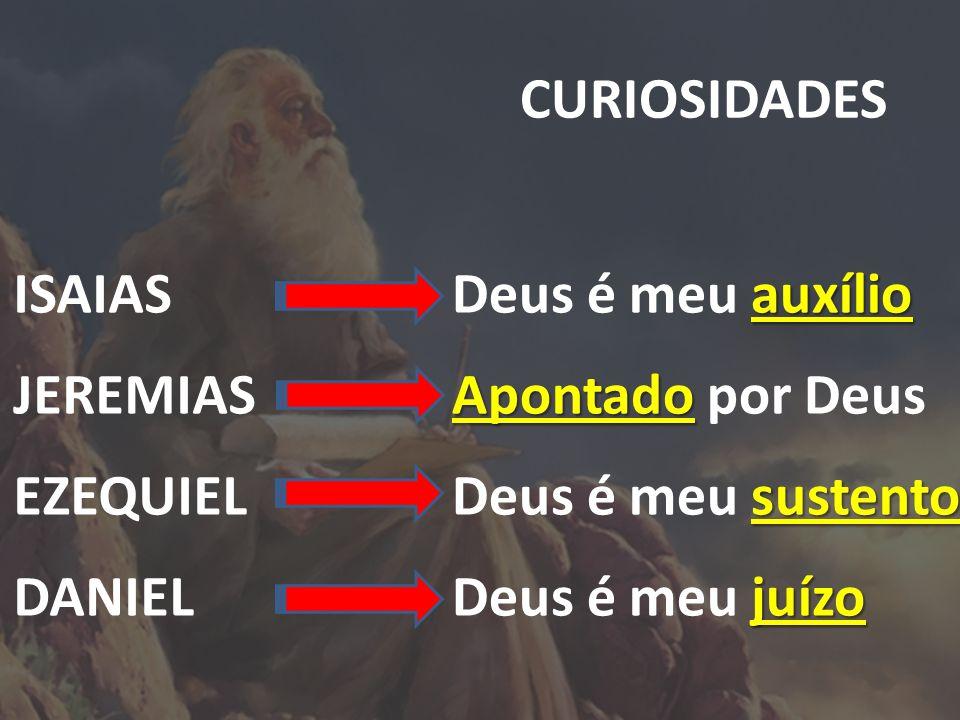 CURIOSIDADES ISAIAS JEREMIAS EZEQUIEL DANIEL Deus é meu a aa auxílio Apontado por Deus Deus é meu s ss sustento Deus é meu j jj juízo