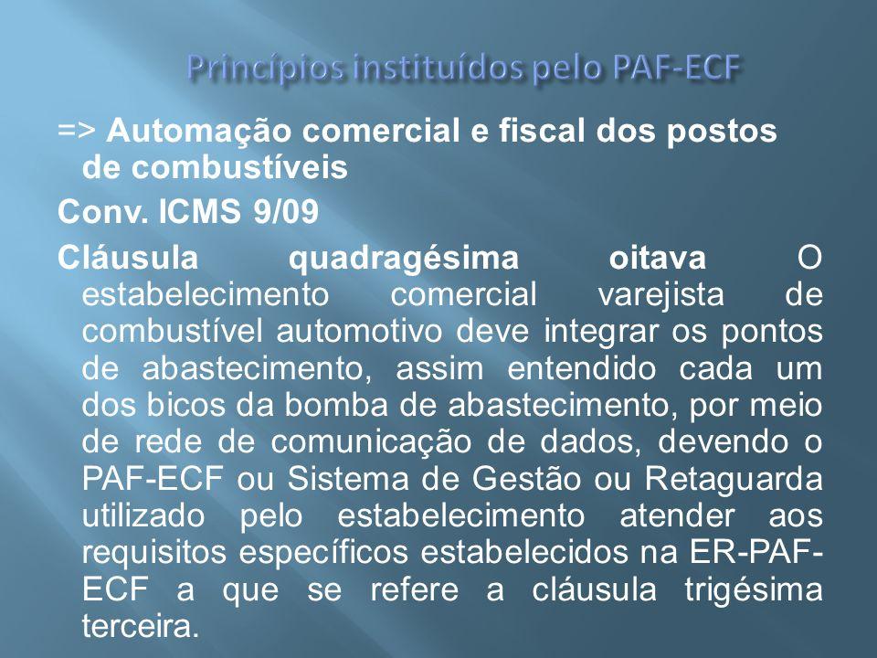 => Automação comercial e fiscal dos postos de combustíveis Conv. ICMS 9/09 Cláusula quadragésima oitava O estabelecimento comercial varejista de combu