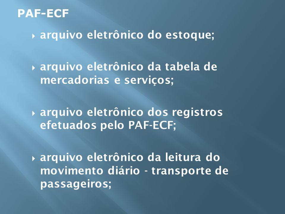 arquivo eletrônico do estoque; arquivo eletrônico da tabela de mercadorias e serviços; arquivo eletrônico dos registros efetuados pelo PAF-ECF; arquiv