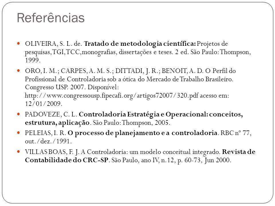 Referências OLIVEIRA, S. L. de. Tratado de metodologia científica: Projetos de pesquisas,TGI,TCC,monografias, dissertações e teses. 2 ed. São Paulo: T