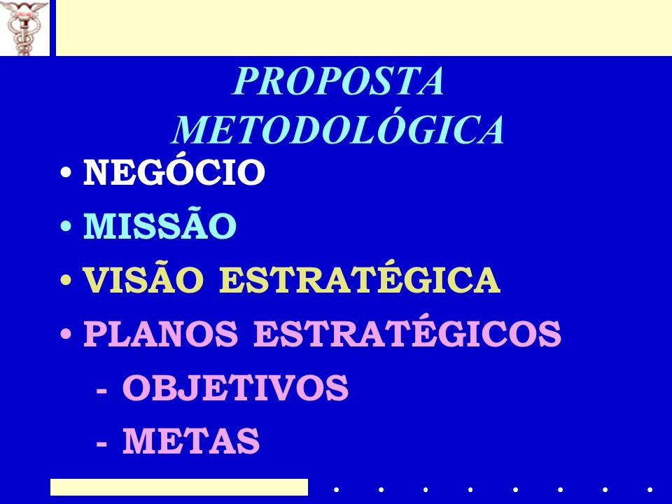 PROPOSTA METODOLÓGICA NEGÓCIO MISSÃO VISÃO ESTRATÉGICA PLANOS ESTRATÉGICOS - OBJETIVOS - METAS