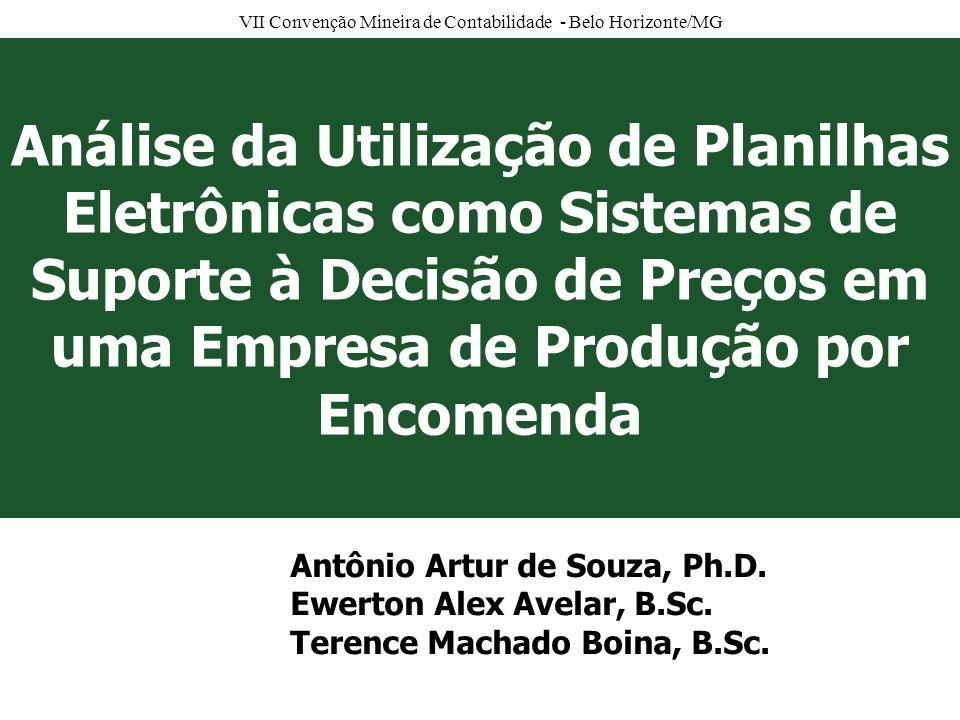 VII Convenção Mineira de Contabilidade - Belo Horizonte/MG Problema de pesquisa Como as planilhas eletrônicas são utilizadas como sistemas de suporte à decisão (SSDs) para subsidiar o processo de formação de preços (FP).