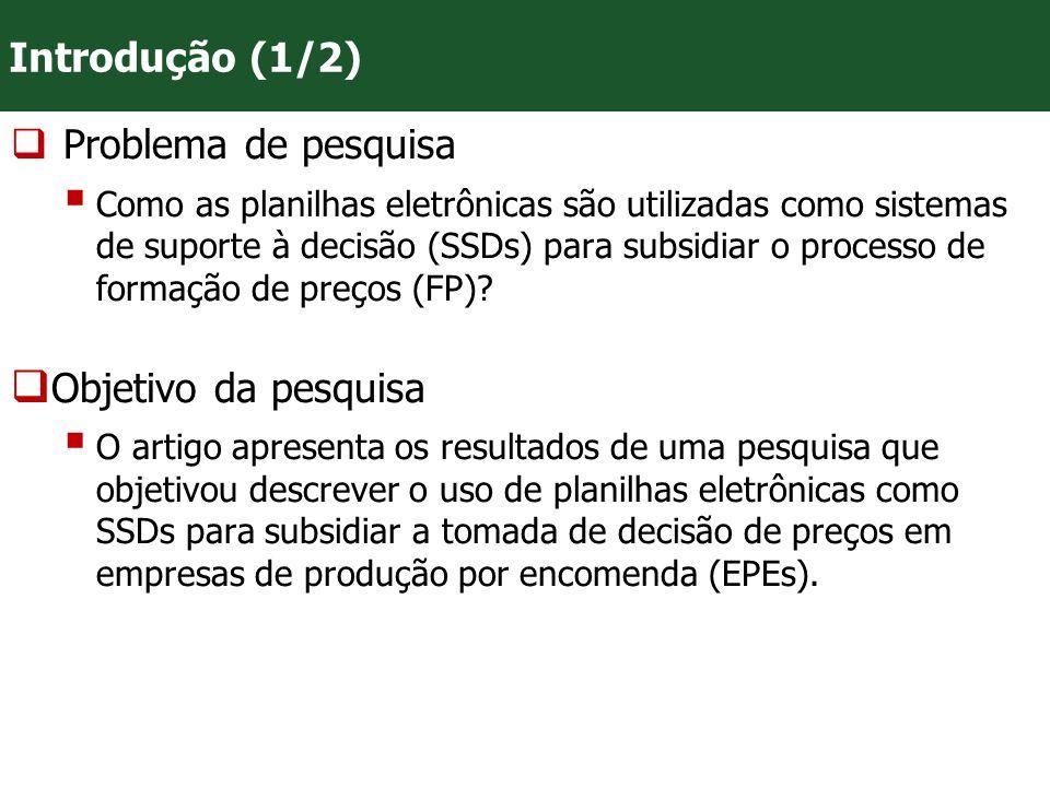 VII Convenção Mineira de Contabilidade - Belo Horizonte/MG Relevância da pesquisa As planilhas eletrônicas são uma ferramenta importante para gerar informações acuradas, úteis, tempestivas, comparáveis relacionadas ao processo de FP, subsidiando relevantemente os gestores que atuam em ambientes de produção peculiares, como é o caso das EPEs, bem como os profissionais da contabilidade, especialmente da área gerencial.