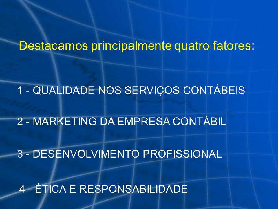 Destacamos principalmente quatro fatores: 1 - QUALIDADE NOS SERVIÇOS CONTÁBEIS 2 - MARKETING DA EMPRESA CONTÁBIL 3 - DESENVOLVIMENTO PROFISSIONAL 4 -