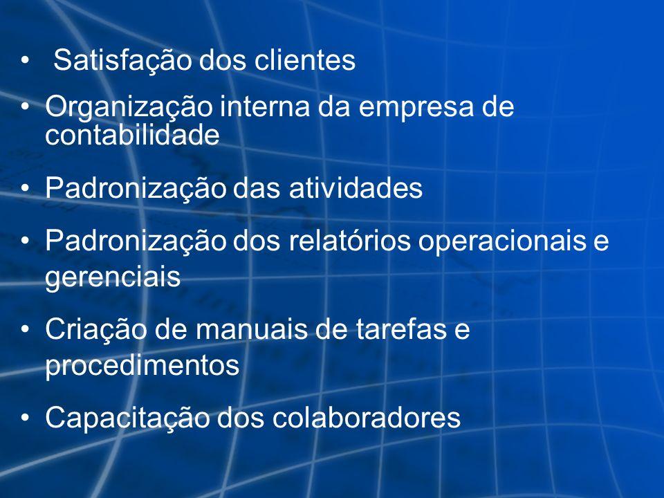 Satisfação dos clientes Organização interna da empresa de contabilidade Padronização das atividades Padronização dos relatórios operacionais e gerenci