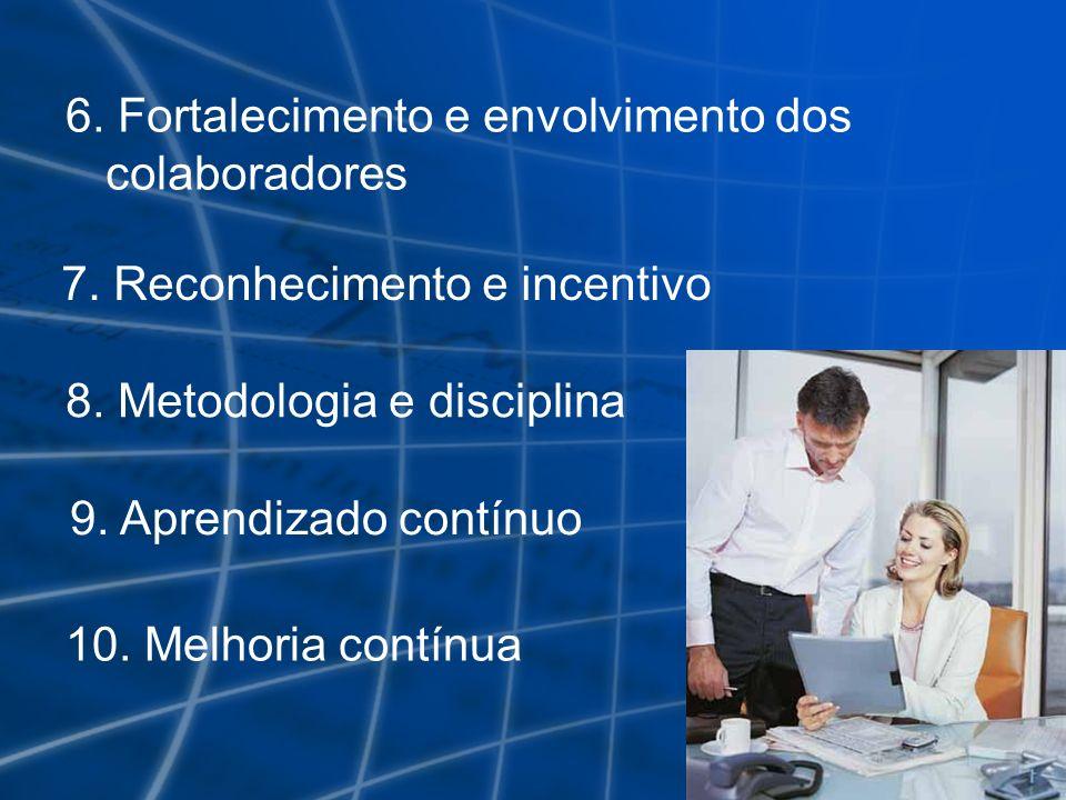 6. Fortalecimento e envolvimento dos colaboradores 7. Reconhecimento e incentivo 8. Metodologia e disciplina 9. Aprendizado contínuo 10. Melhoria cont