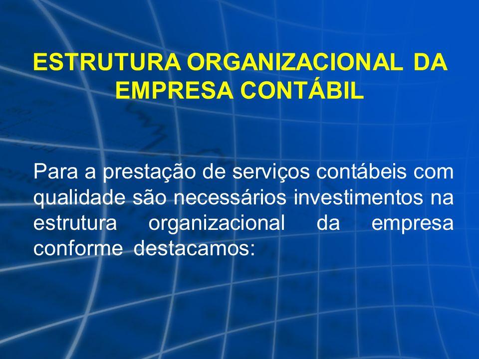 ESTRUTURA ORGANIZACIONAL DA EMPRESA CONTÁBIL Para a prestação de serviços contábeis com qualidade são necessários investimentos na estrutura organizac