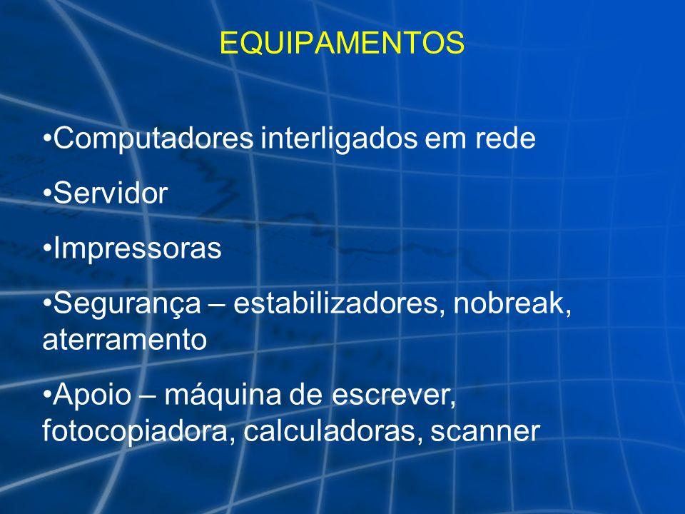 EQUIPAMENTOS Computadores interligados em rede Servidor Impressoras Segurança – estabilizadores, nobreak, aterramento Apoio – máquina de escrever, fot