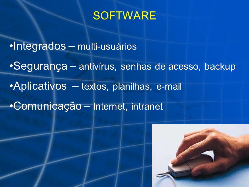 SOFTWARE Integrados – multi-usuários Segurança – antivírus, senhas de acesso, backup Aplicativos – textos, planilhas, e-mail Comunicação – Internet, i