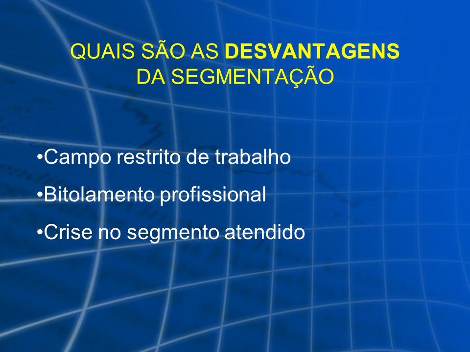 QUAIS SÃO AS DESVANTAGENS DA SEGMENTAÇÃO Campo restrito de trabalho Bitolamento profissional Crise no segmento atendido
