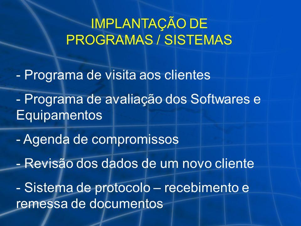 IMPLANTAÇÃO DE PROGRAMAS / SISTEMAS - Programa de visita aos clientes - Programa de avaliação dos Softwares e Equipamentos - Agenda de compromissos -