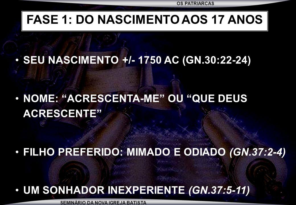 OS PATRIARCAS SEMINÁRIO DA NOVA IGREJA BATISTA SEU NASCIMENTO +/- 1750 AC (GN.30:22-24) NOME: ACRESCENTA-ME OU QUE DEUS ACRESCENTE FILHO PREFERIDO: MI