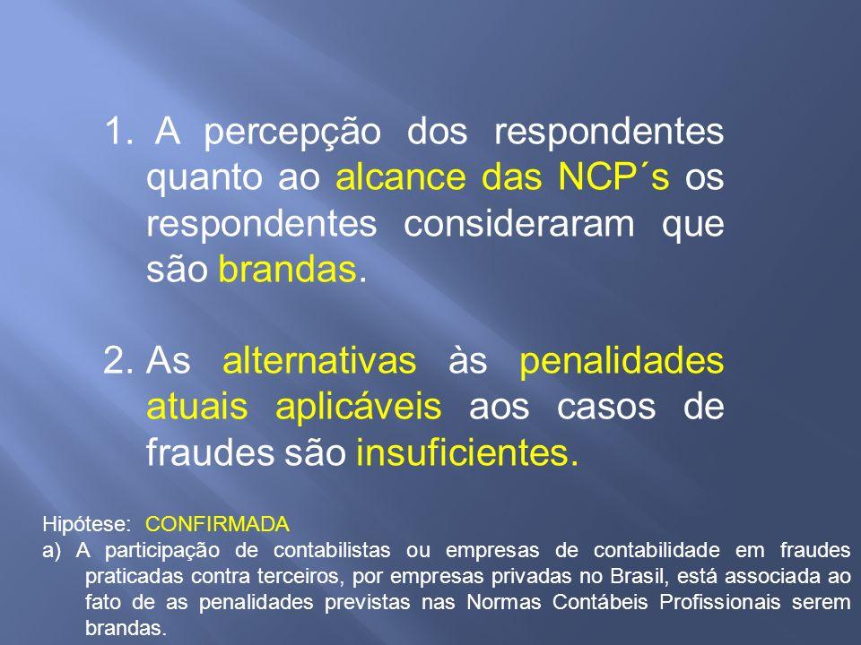 1. A percepção dos respondentes quanto ao alcance das NCP´s os respondentes consideraram que são brandas. 2.As alternativas às penalidades atuais apli
