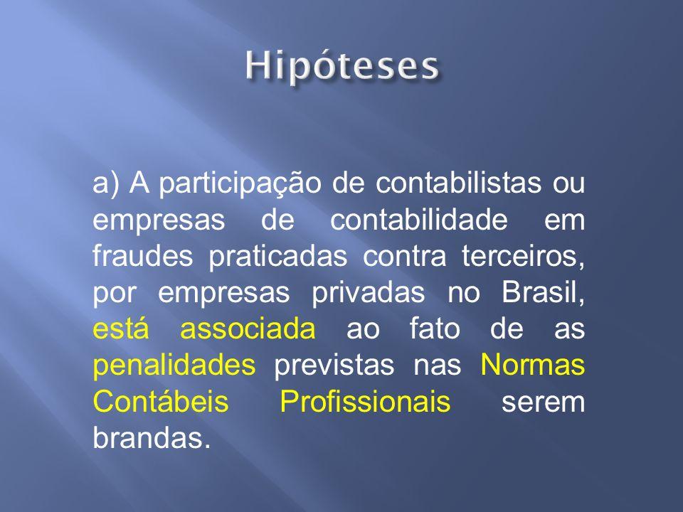 a) A participação de contabilistas ou empresas de contabilidade em fraudes praticadas contra terceiros, por empresas privadas no Brasil, está associad