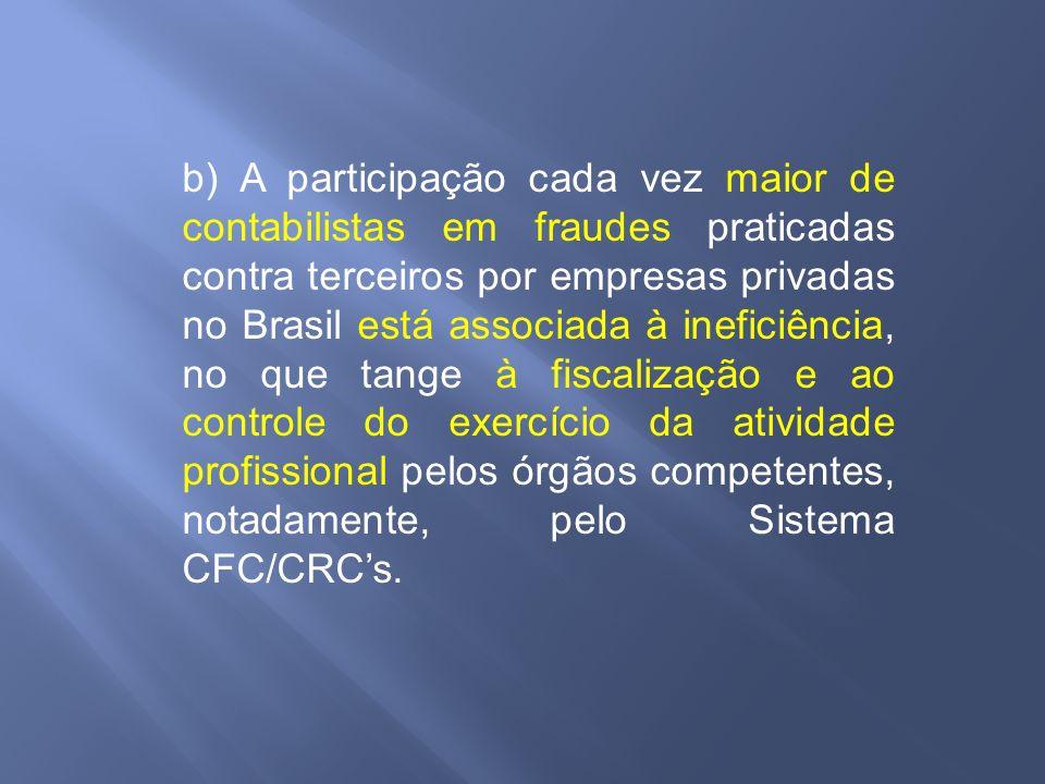 b) A participação cada vez maior de contabilistas em fraudes praticadas contra terceiros por empresas privadas no Brasil está associada à ineficiência
