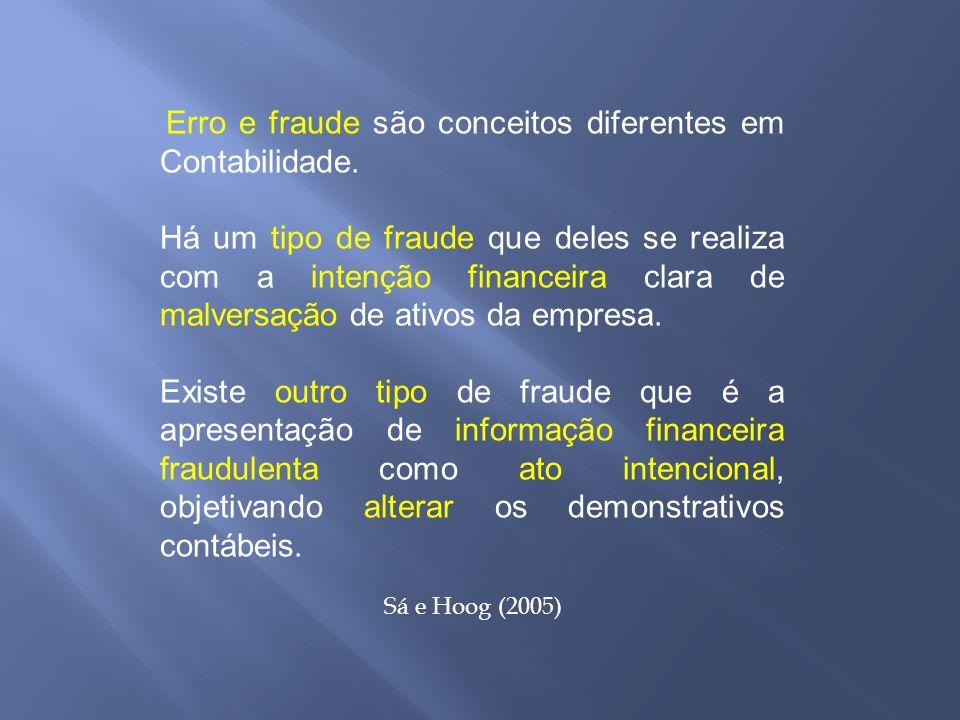 Erro e fraude são conceitos diferentes em Contabilidade. Há um tipo de fraude que deles se realiza com a intenção financeira clara de malversação de a