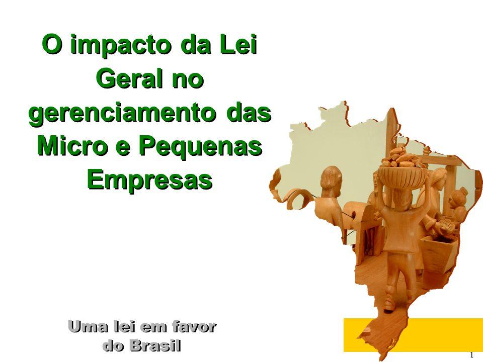 1 Uma lei em favor do Brasil Uma lei em favor do Brasil O impacto da Lei Geral no gerenciamento das Micro e Pequenas Empresas