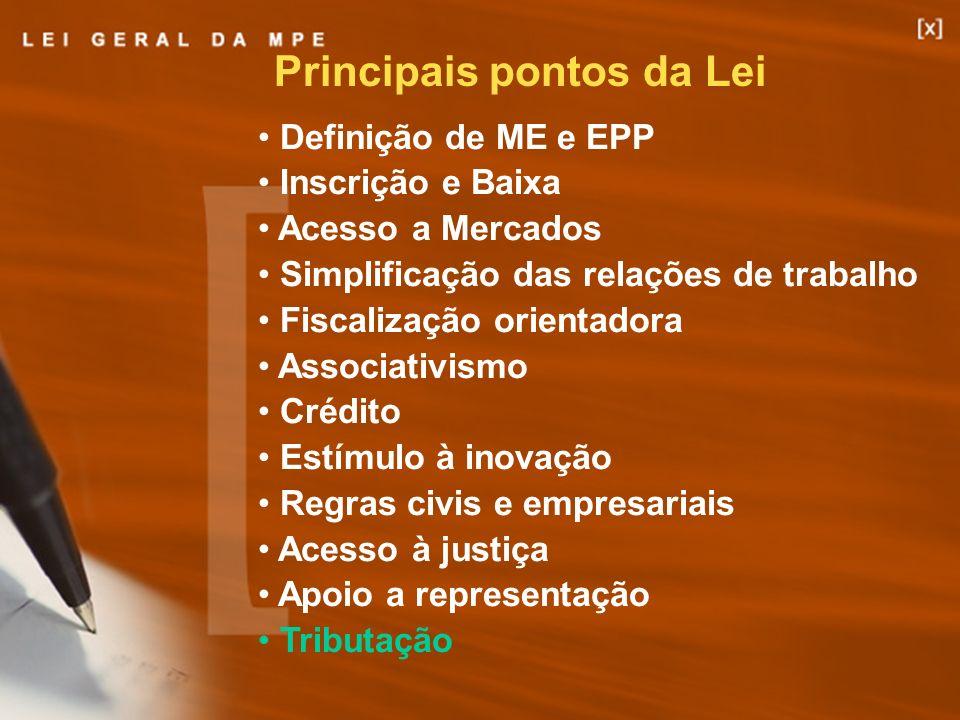 15 Definição de ME e EPP Inscrição e Baixa Acesso a Mercados Simplificação das relações de trabalho Fiscalização orientadora Associativismo Crédito Es