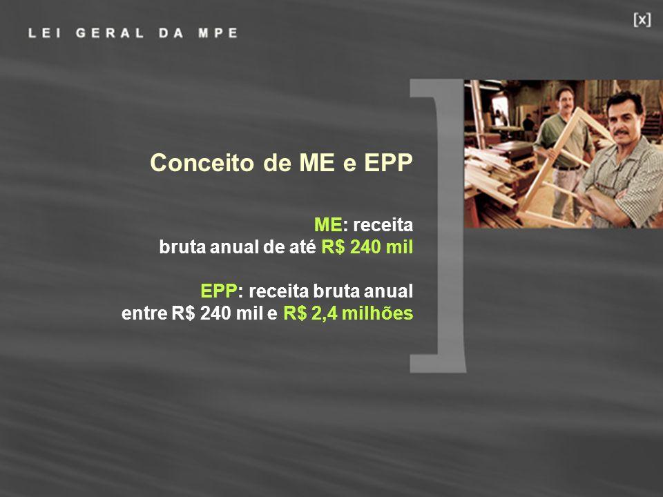 18 Conceito de ME e EPP ME: receita bruta anual de até R$ 240 mil EPP: receita bruta anual entre R$ 240 mil e R$ 2,4 milhões