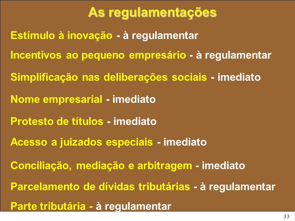 33 As regulamentações Acesso a juizados especiais - imediato Conciliação, mediação e arbitragem - imediato Parcelamento de dívidas tributárias - à reg