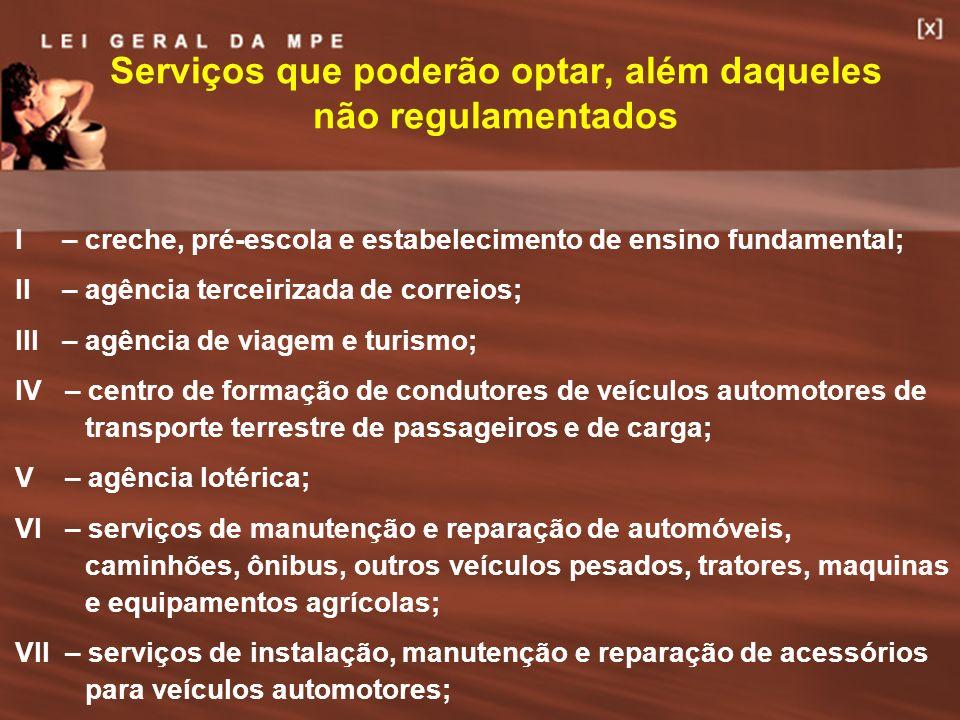 34 Serviços que poderão optar, além daqueles não regulamentados I – creche, pré-escola e estabelecimento de ensino fundamental; II – agência terceiriz