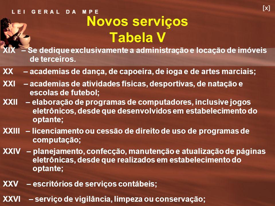 37 Novos serviços Tabela V XIX – Se dedique exclusivamente a administração e locação de imóveis de terceiros. XX – academias de dança, de capoeira, de