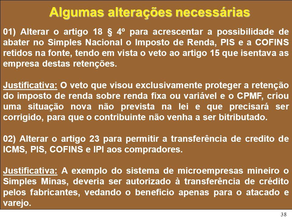 38 01) Alterar o artigo 18 § 4º para acrescentar a possibilidade de abater no Simples Nacional o Imposto de Renda, PIS e a COFINS retidos na fonte, te