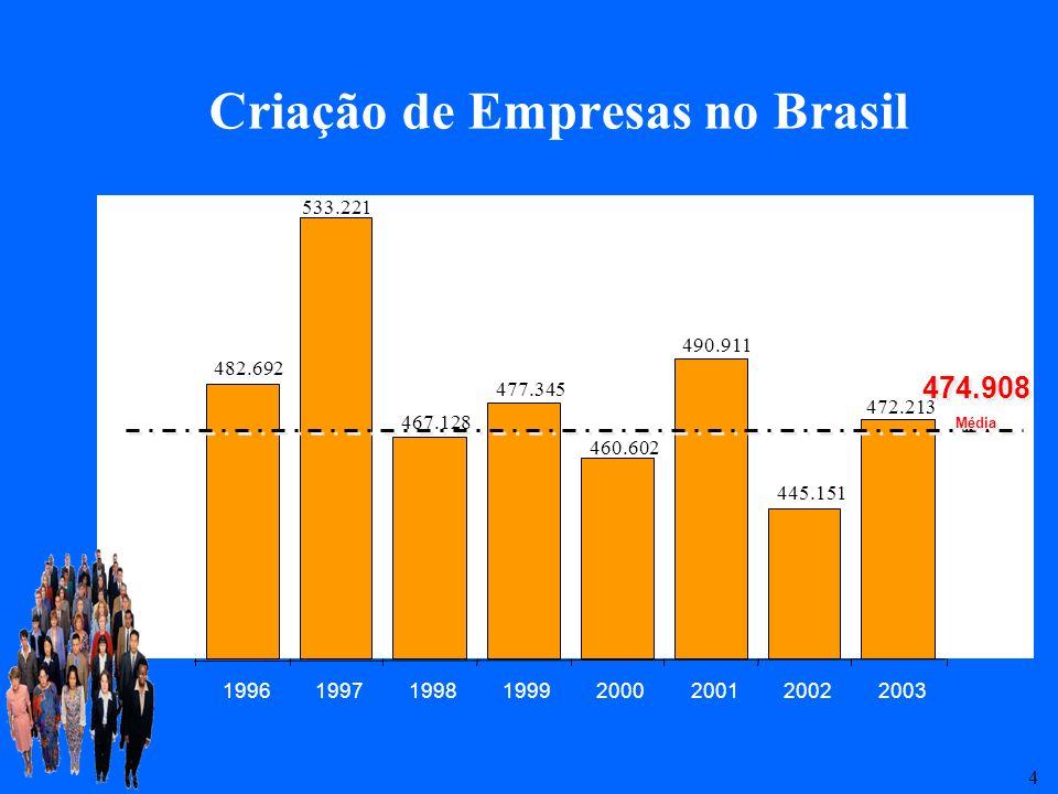 5 Mortalidade de Empresas no Brasil 49,4 % 4 anos de vida3 anos de vida 2 anos de vida 56,4%59,9% * Aproximadamente 3,2 postos de trabalho por empresa ** O capital médio investido pela empresa extinta foi da ordem de, aproximadamente, R$ 26 mil, com retorno de apenas 30%.