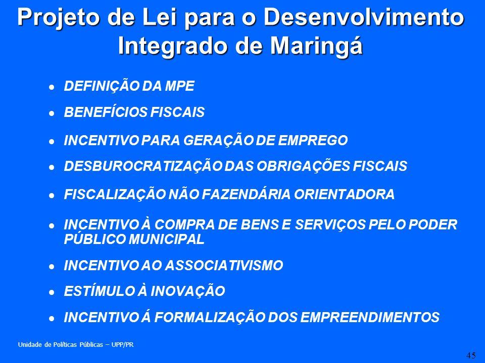 45 Projeto de Lei para o Desenvolvimento Integrado de Maringá DEFINIÇÃO DA MPE BENEFÍCIOS FISCAIS INCENTIVO PARA GERAÇÃO DE EMPREGO DESBUROCRATIZAÇÃO