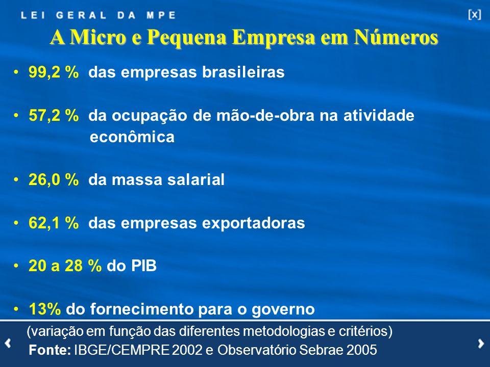 6 A Micro e Pequena Empresa em Números 99,2 % das empresas brasileiras 57,2 % da ocupação de mão-de-obra na atividade econômica 26,0 % da massa salari