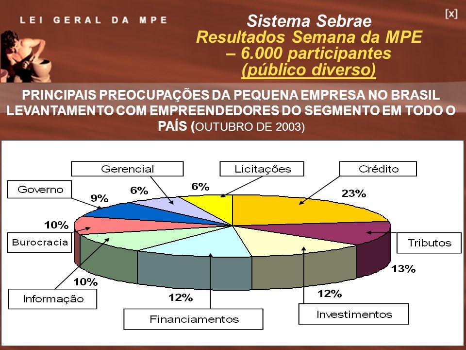 7 PRINCIPAIS PREOCUPAÇÕES DA PEQUENA EMPRESA NO BRASIL LEVANTAMENTO COM EMPREENDEDORES DO SEGMENTO EM TODO O PAÍS ( OUTUBRO DE 2003) Sistema Sebrae Re