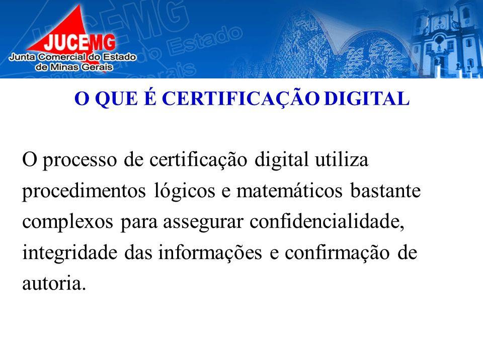 O QUE É CERTIFICAÇÃO DIGITAL O processo de certificação digital utiliza procedimentos lógicos e matemáticos bastante complexos para assegurar confiden