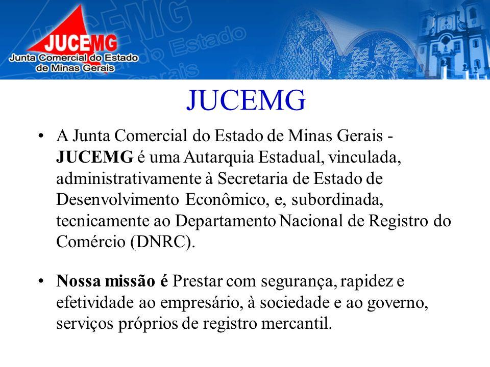JUCEMG A Junta Comercial do Estado de Minas Gerais - JUCEMG é uma Autarquia Estadual, vinculada, administrativamente à Secretaria de Estado de Desenvo