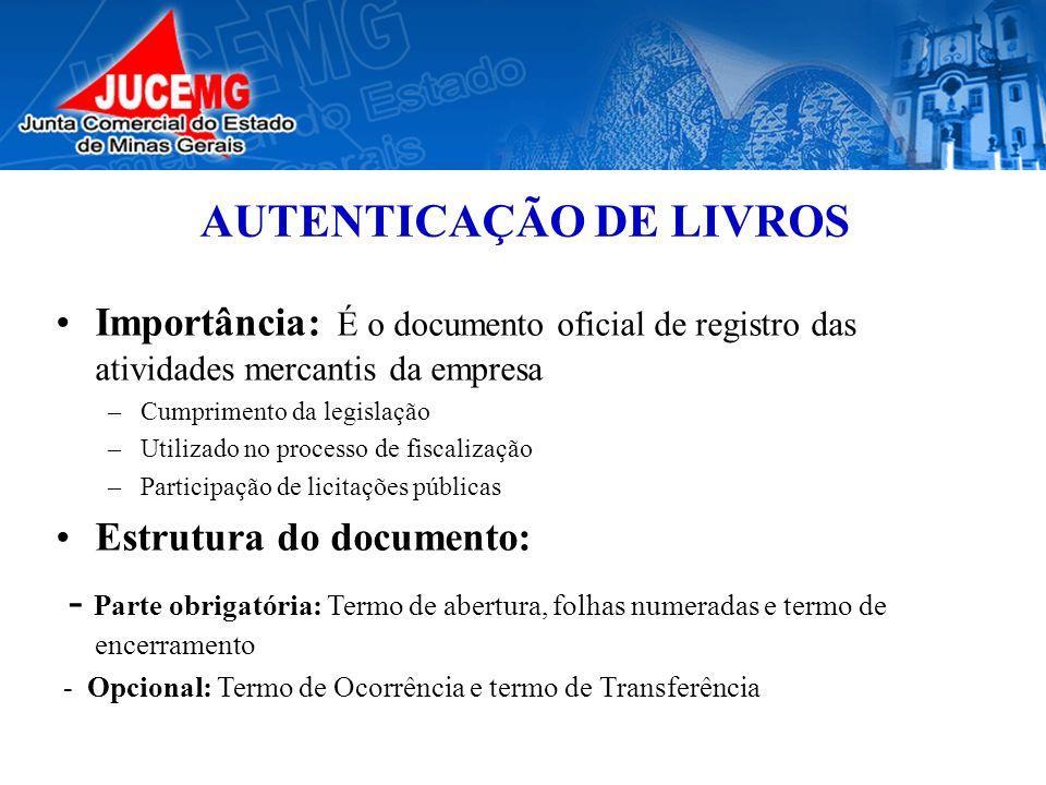 AUTENTICAÇÃO DE LIVROS Importância: É o documento oficial de registro das atividades mercantis da empresa –Cumprimento da legislação –Utilizado no pro