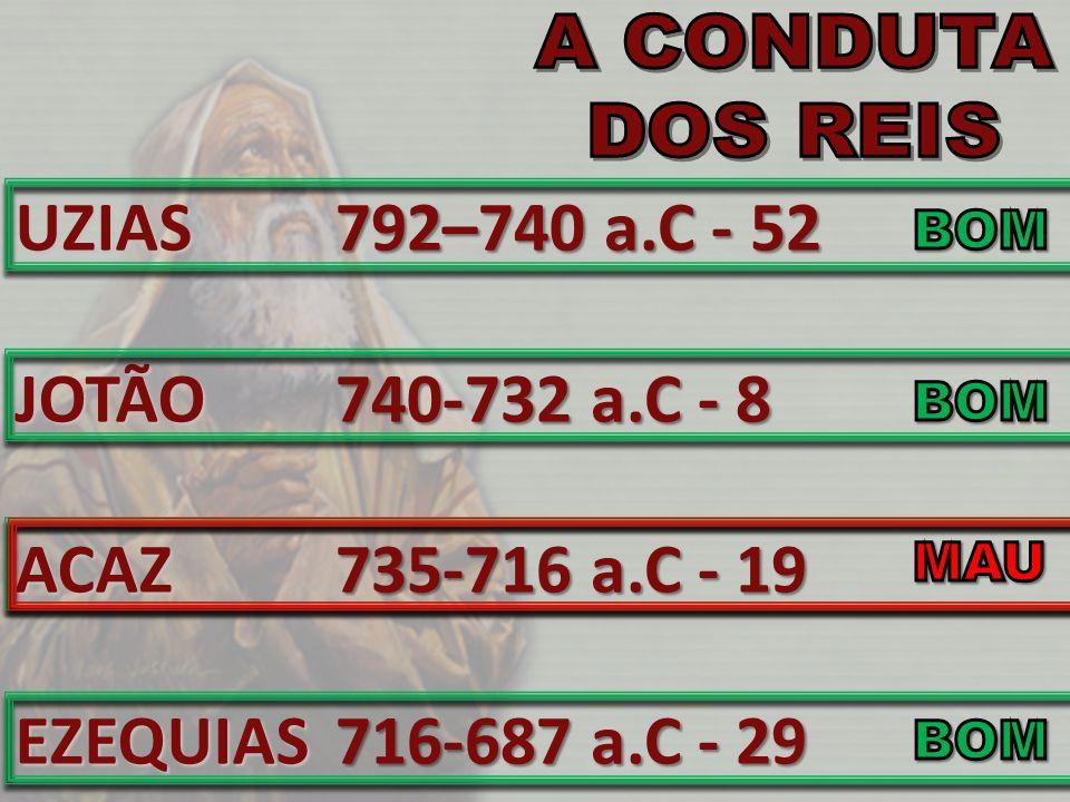 UZIASJOTÃOACAZEZEQUIAS 792–740 a.C - 52 740-732 a.C - 8 735-716 a.C - 19 716-687 a.C - 29