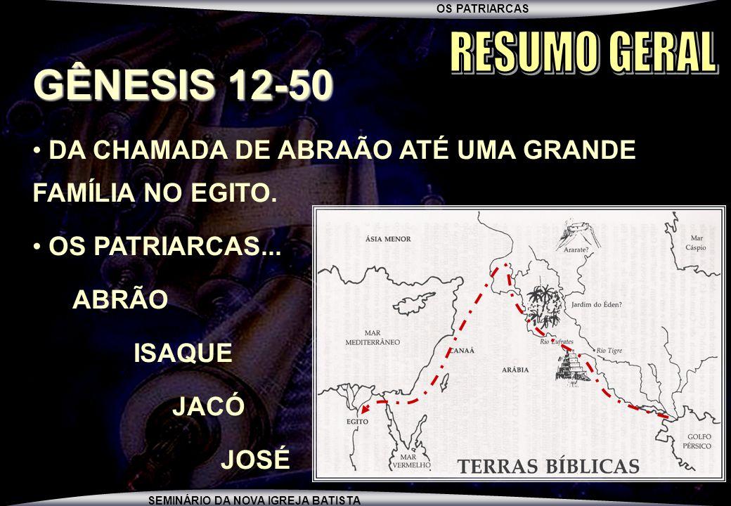 OS PATRIARCAS SEMINÁRIO DA NOVA IGREJA BATISTA SEU NASCIMENTO +/- 1800AC (GN.25:21-26) A EXTORSÃO PARA ADQUIRIR O DIREITO DE PRIMOGENITURA (GN.25:27-34) O ENGANO PARA OBTER A BÊNÇÃO PATRIARCAL DE ISAQUE (GN.27:1-35) A FASE JACÓ