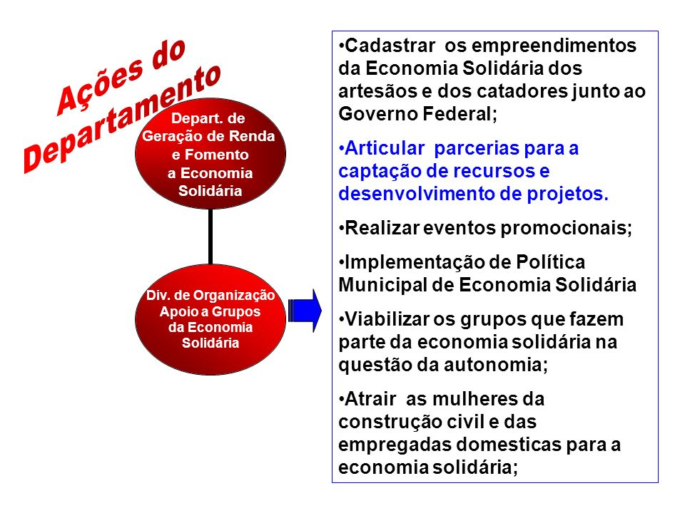 Depart.de Geração de Renda e Fomento a Economia Solidária Div.