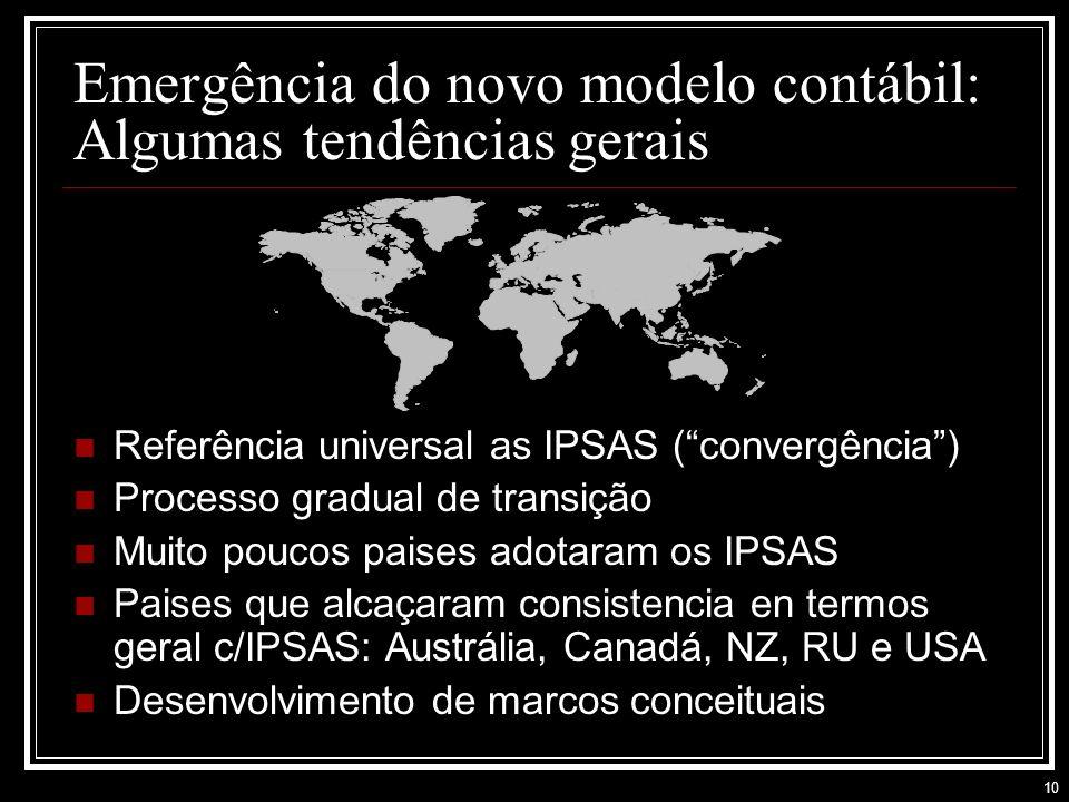 10 Emergência do novo modelo contábil: Algumas tendências gerais Referência universal as IPSAS (convergência) Processo gradual de transição Muito poucos paises adotaram os IPSAS Paises que alcaçaram consistencia en termos geral c/IPSAS: Austrália, Canadá, NZ, RU e USA Desenvolvimento de marcos conceituais